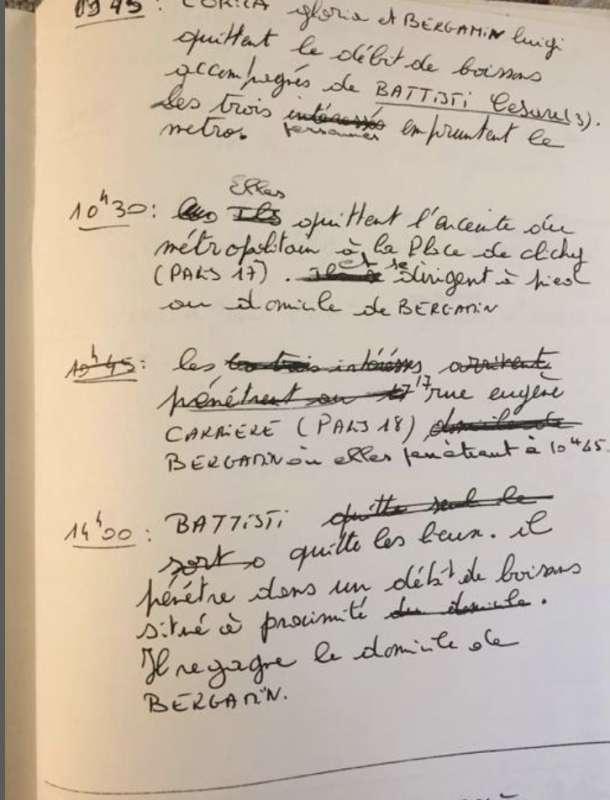 le annotazioni degli investigatori su cesare battisti nel 1990