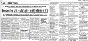 Corriere della sera - articolo sulla P2