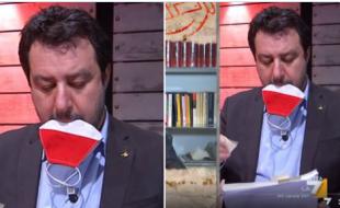 Salvini si toglie la mascherina e la mette in bocca, il tutto in diretta tv a DiMartedì