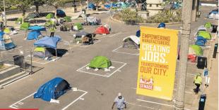 tende per il distanziamento sociale dei senzatetto san francisco