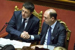 RENZI ALFANO FIDUCIA AL GOVERNO RENZI IN SENATO FOTO LAPRESSE