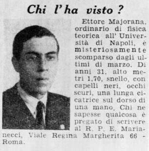 ETTORE MAJORANA SCOMPARSO
