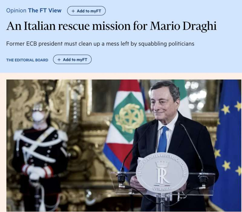 financial times incarico a mario draghi