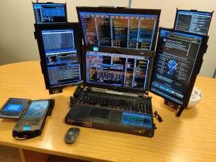 il pc con sette schermi