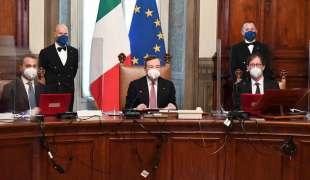 IL PRIMO CONSIGLIO DEI MINISTRI DI MARIO DRAGHI - LUIGI DI MAIO - ROBERTO GAROFOLI