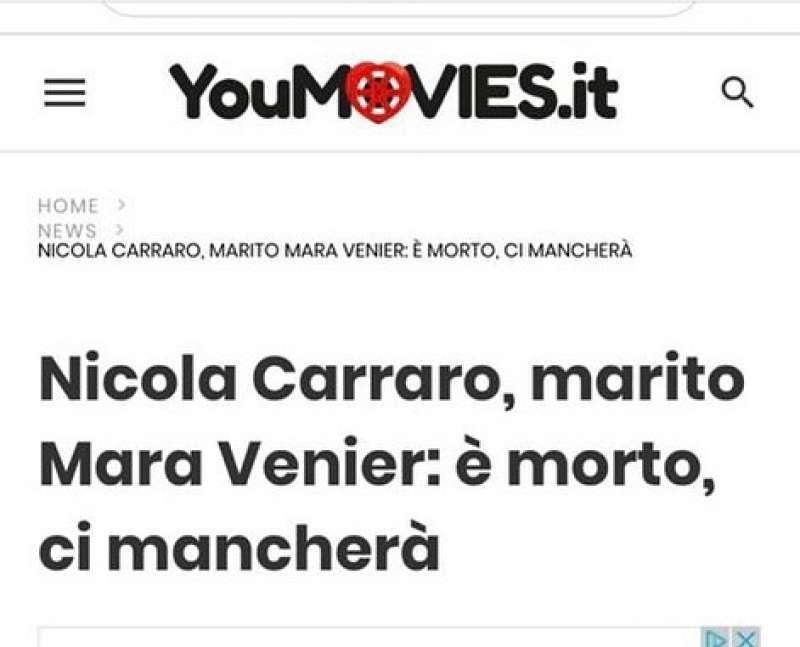 LA BUFALA DELLA MORTE DI NICOLA CARRARO SU YOUMOVIES.IT