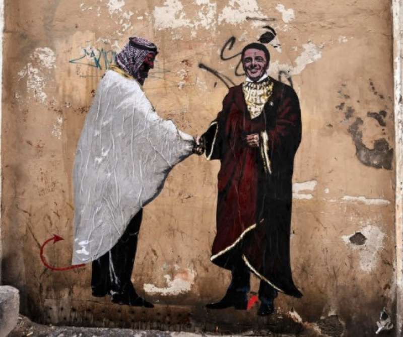 mohammed bin salman e matteo renzi il murale a roma 1