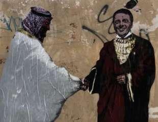 mohammed bin salman e matteo renzi il murale a roma 2