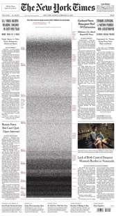 PRIMA PAGINA NEW YORK TIMES - 500MILA MORTI CORONAVIRUS NEGLI USA