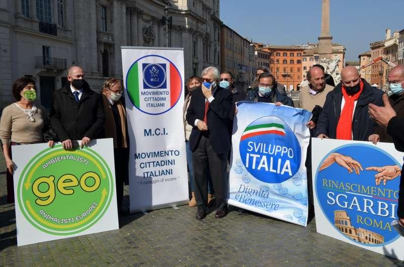sgarbi con i movimenti che appoggiano la sua candidatura a sindaco di roma foto di bacco (1)