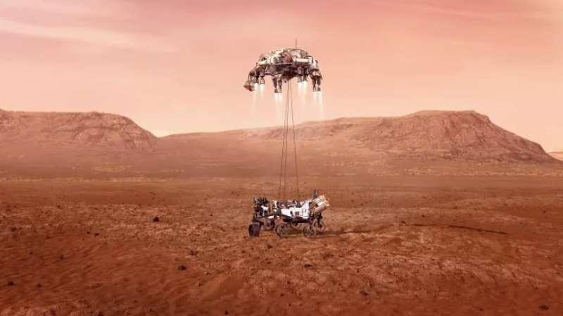 un disegno del rover perseverance sul suolo di marte