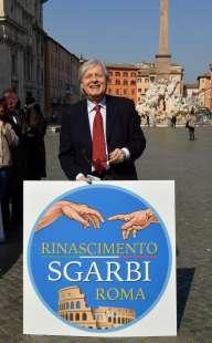 vittorio sgarbi con il simbolo di rinascimento roma foto di bacco (2)