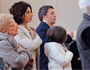 AGNESE LANDINI E MATTEO RENZI IN CHIESA