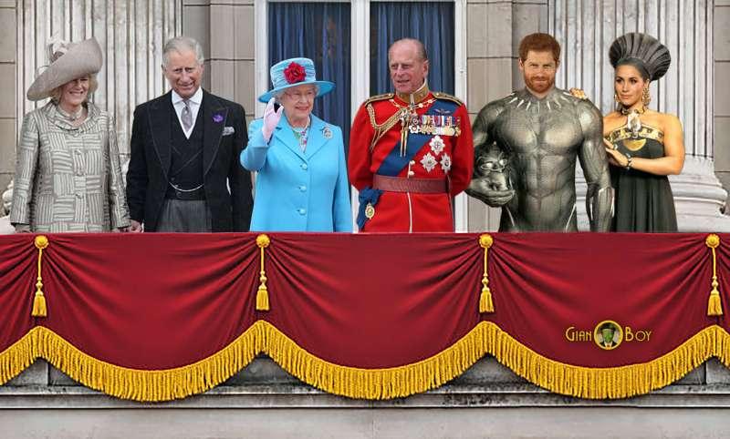 famiglia reale inglese camilla, carlo, regina elisabetta principe filippo, principe harry meghan markle