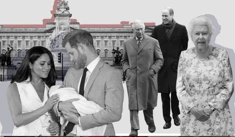 meghan markle, principe harry, la regina elisabetta, carlo e william