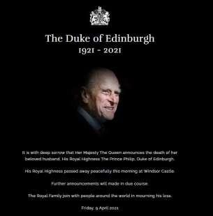 comunicato della regina sulla morte del principe filippo