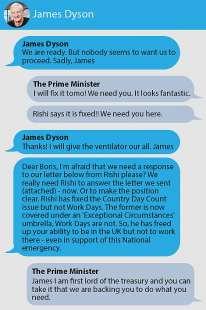 i messaggi di boris johnson a james dyson