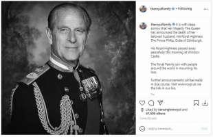 la morte del principe filippo instagram famiglia reale