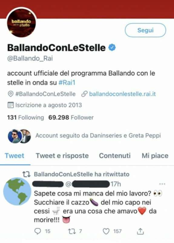 TWEET CANCELLATO DI BALLANDO CON LE STELLE