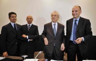ANDREA ZOPPINI GIULIO NAPOLITANO GIOVANNI BAZOLI ENRICO LETTA FOTO INFOPHOTO
