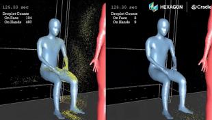 simulazione – come i droplets ricoprono una persona con cui stiamo parlando in metro 2