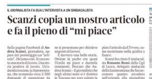 ARTICOLO DEL TIRRENO SU ANDREA SCANZI