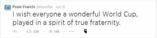 il tweet inaugurale di papa francesco
