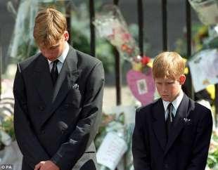 harry e william al funerale di diana