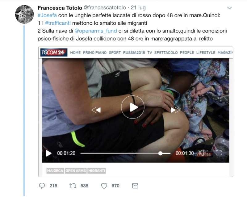 IL TWEET DI FRANCESCA TOTOLO SULLO SMALTO DI JOSEPHA