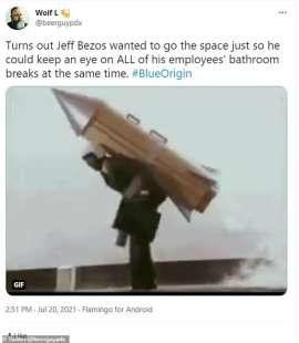 Tweet Jeff Bezos viaggio spaziale 6
