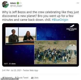 Tweet Jeff Bezos viaggio spaziale 8