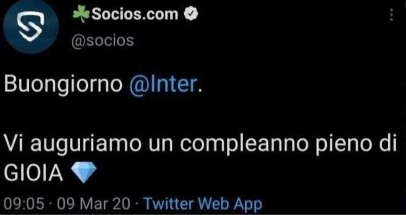 TWEET SOCIOS INTER