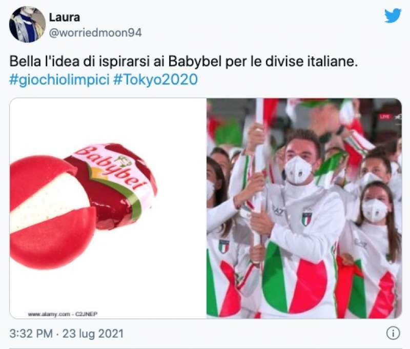 tweet sulla divisa italiana a tokyo2020 1