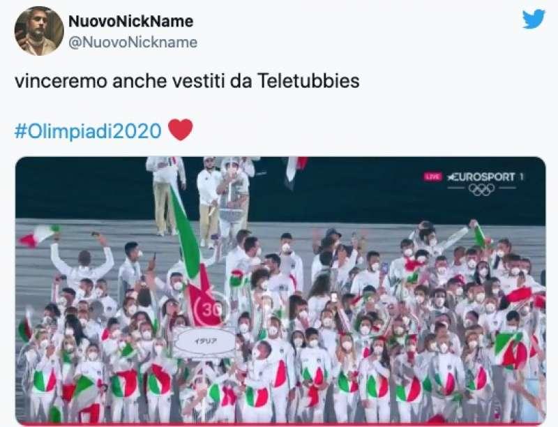 tweet sulla divisa italiana a tokyo2020