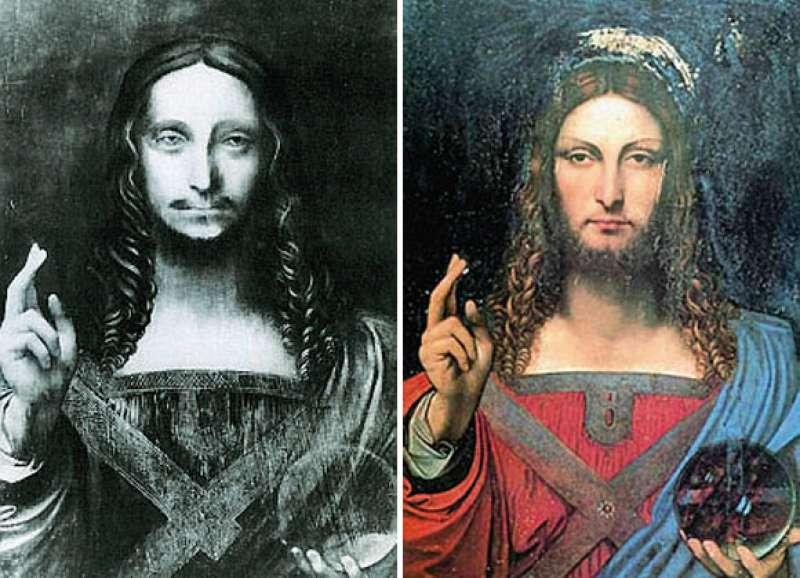 Salvator Mundi attribuito a Leonardo prima del restauro e, a destra