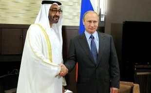vladimir putin con lo sceicco mohamed bin zayed al nahyan