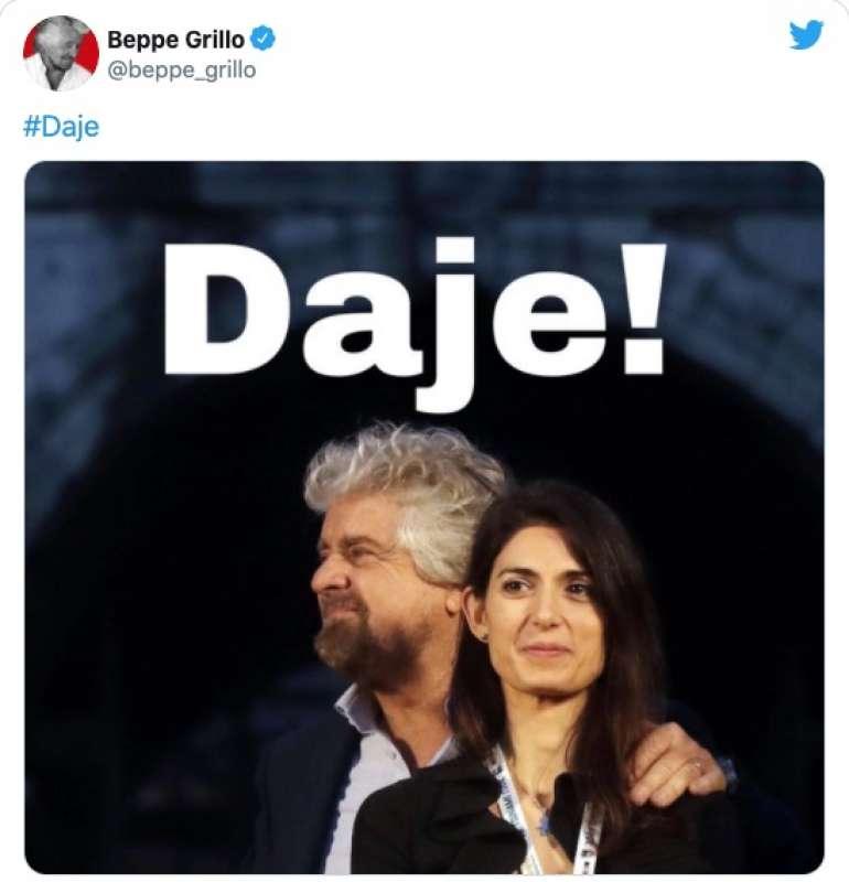 IL TWEET DI BEPPE GRILLO SULLA RAGGI CHE SI RICANDIDA
