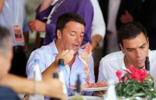 Renzi e il leader Psoe Pedro Sanchez al ristorante Bertoldo,