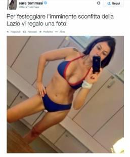 sara tommasi selfie contro la lazio