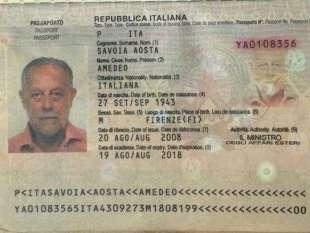 amedeo di savoia passaporto