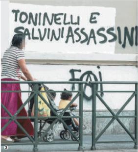 toninelli salvini scritte degli anarchici