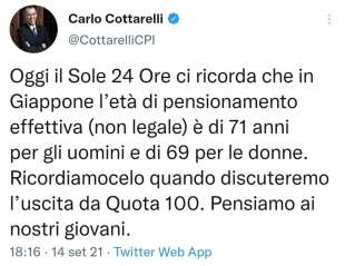 IL TWEET DI CARLO COTTARELLI SULLE PENSIONI