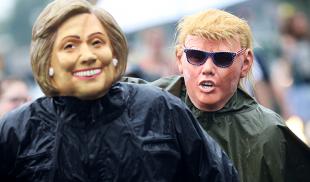 maschere di hillary clinton e donald trump