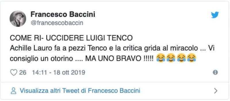 FRANCESCO BACCINI CONTRO ACHILLE LAURO AL PREMIO TENCO