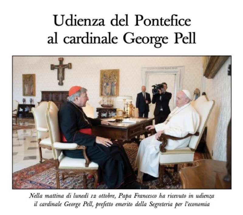 INCONTRO TRA GEORGE PELL E PAPA FRANCESCO SULL OSSERVATORE ROMANO
