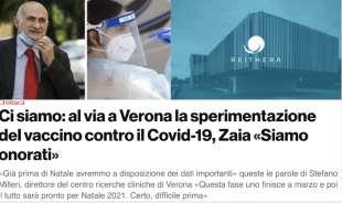 Titolo sul vaccino Spallanzani da Padova Oggi