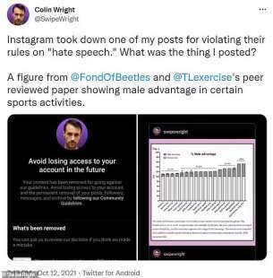 Il post di Colin Wright censurato da Instagram