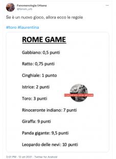 tweet sul toro a roma.