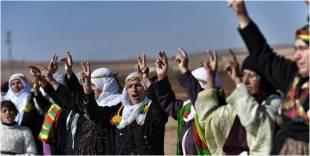 Dimostrazione di donne curde a Sanliurfa, vicino alla citta? siriana di Kobane