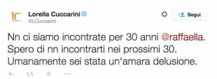 tweet lorella cuccarini contro Raffaella Carra'